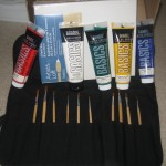 "Grammy got Ariel, ""real"" paints and ""real"" brushes. Ariel has been asking for these for a while now."