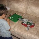 Joshua's hard earned Boba Fett Ship. (Ignore any stains on the couch, I can't get them off.)
